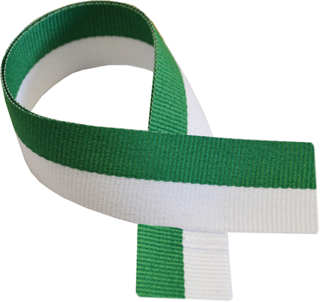 "Green & White Medal Ribbon 76cm (30"")"