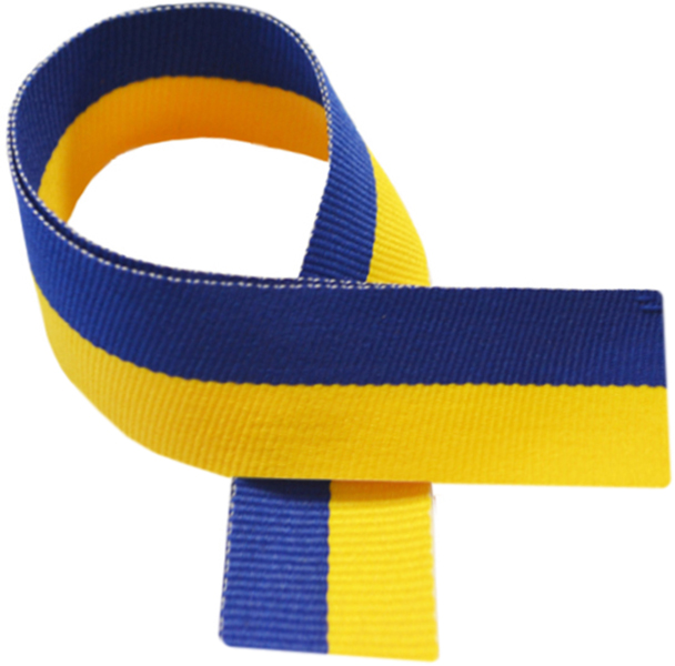 "Yellow & Royal Blue Medal Ribbon 76cm (30"")"