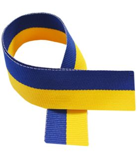 "Yellow & Royal Blue Medal Ribbon 76cm (30"")"