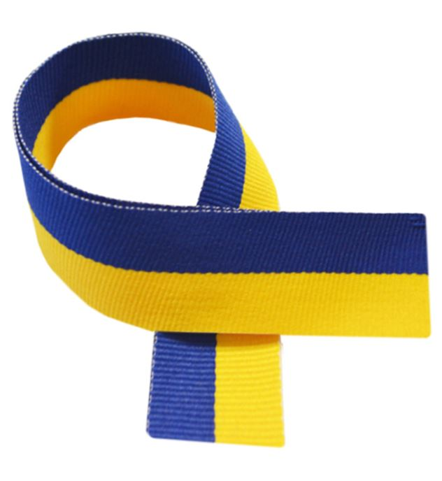 "Yellow & Royal Blue Medal Ribbon 80cm (32"")"