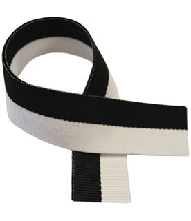 "Black & White Medal Ribbon 76cm (30"")"