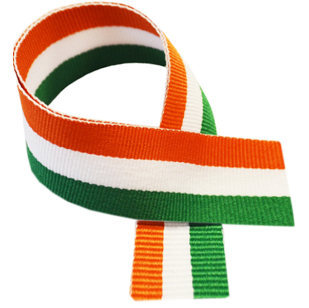 "Green, White & Orange Medal Ribbon 76cm (30"")"