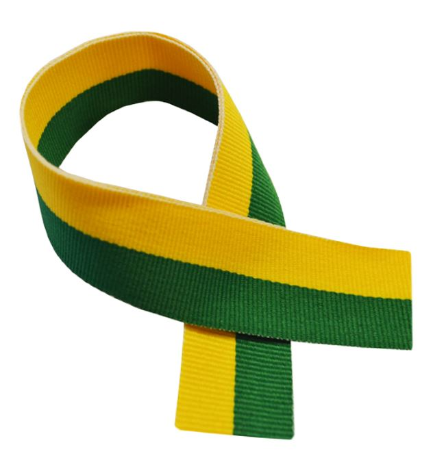 "Green & Yellow Medal Ribbon 80cm (32"")"
