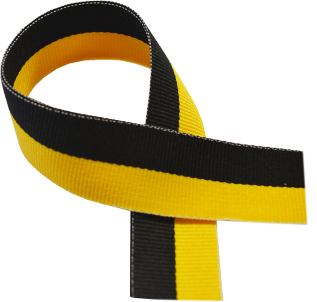 "Black & Yellow Medal Ribbon 76cm (30"")"