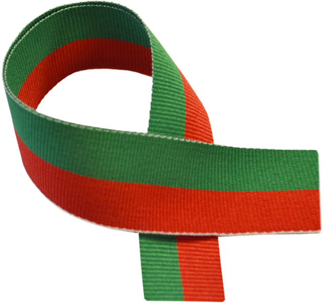 "Red & Green Medal Ribbon 76cm (30"")"