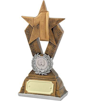 "1st Place Antique Gold Resin Star Trophy 18.5cm (7.25"")"