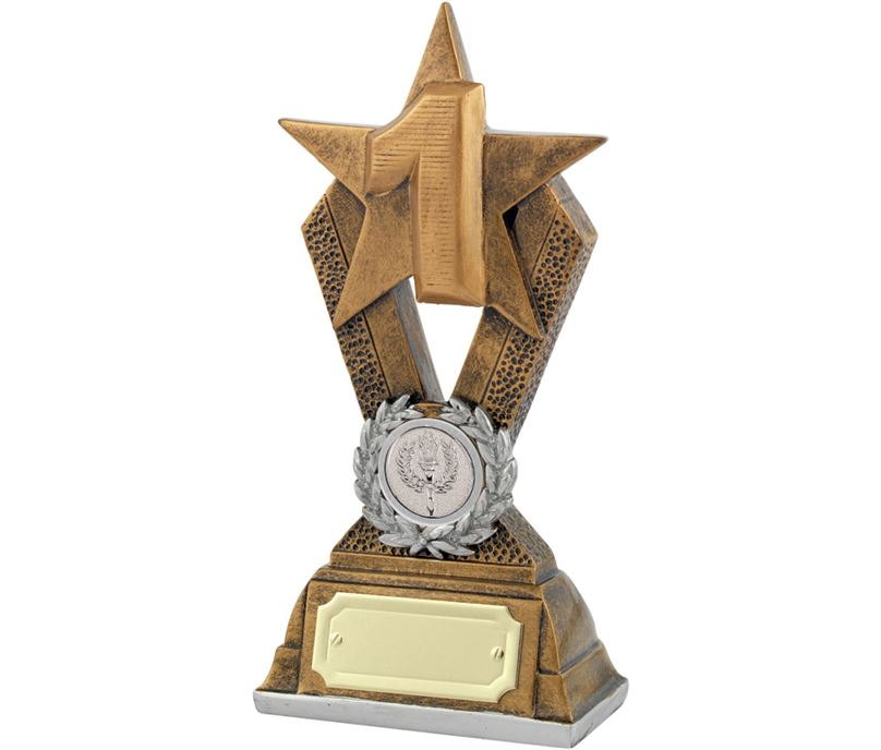 "1st Place Antique Gold Resin Star Trophy 18.5cm (7.25"")"