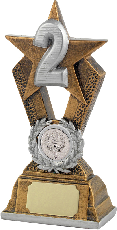 """2nd Place Antique Gold Resin Star Trophy 16.5cm (6.5"""")"""