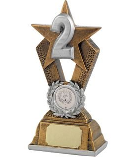 "2nd Place Antique Gold Resin Star Trophy 16.5cm (6.5"")"