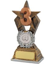"""3rd Place Antique Gold Resin Star Trophy 14cm (5.5"""")"""