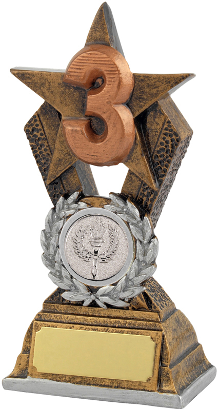 "3rd Place Antique Gold Resin Star Trophy 14cm (5.5"")"