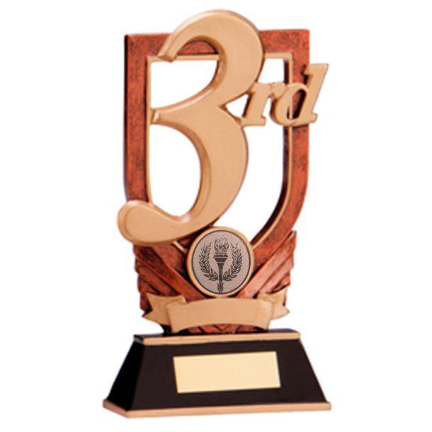 "Bronze Resin 3rd Place Plaque Award 18cm (7"")"
