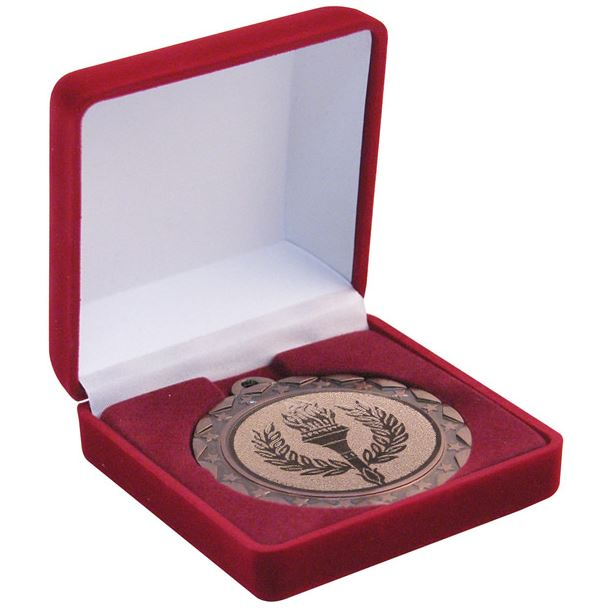 Deluxe Red Velvet Lined Medal Box 50, 60 or 70mm Recess
