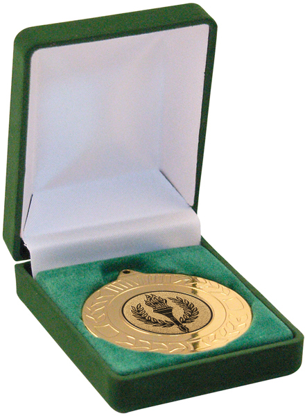 Deluxe Green Medal Box 40mm or 50mm Recess
