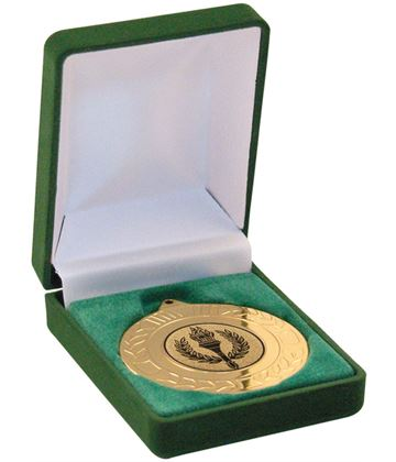 Deluxe Green Velvet Lined Medal Box 40mm or 50mm Recess