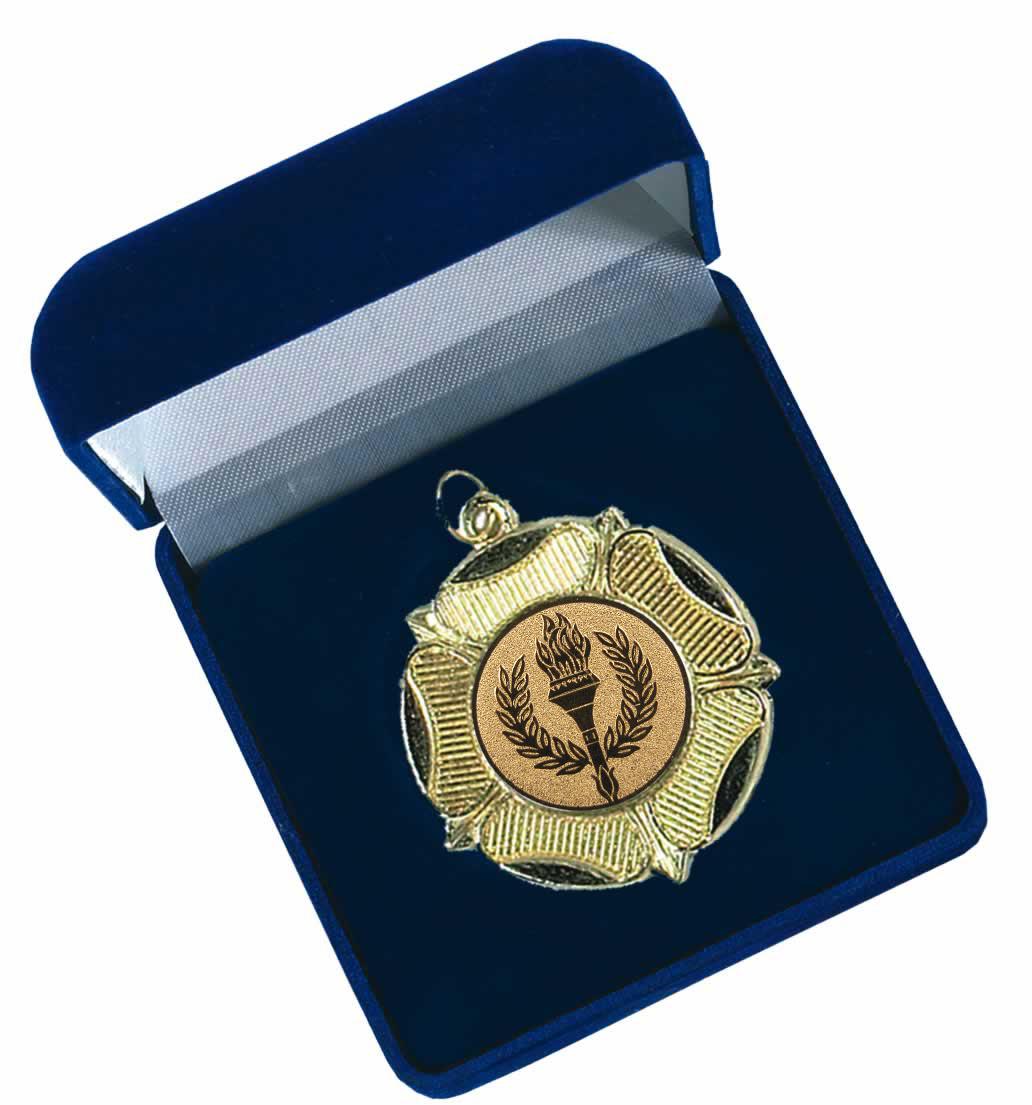 Large Blue Velvet Silk Lined Medal Box 50mm Recess