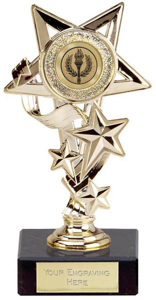 "Gold Cascade Star Trophy 14.5cm (5.75"")"
