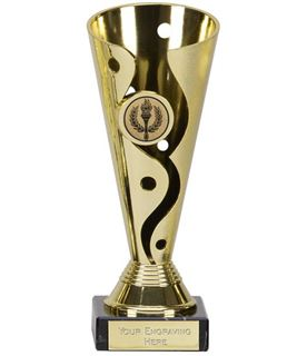 "Gold Plastic Carnival Cup Trophy on Marble Base 19cm (7.5"")"