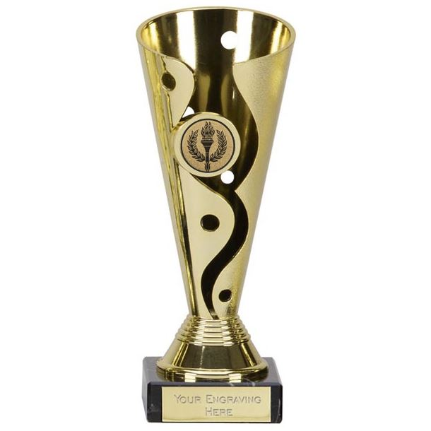 """Gold Plastic Carnival Cup Trophy on Marble Base 19cm (7.5"""")"""