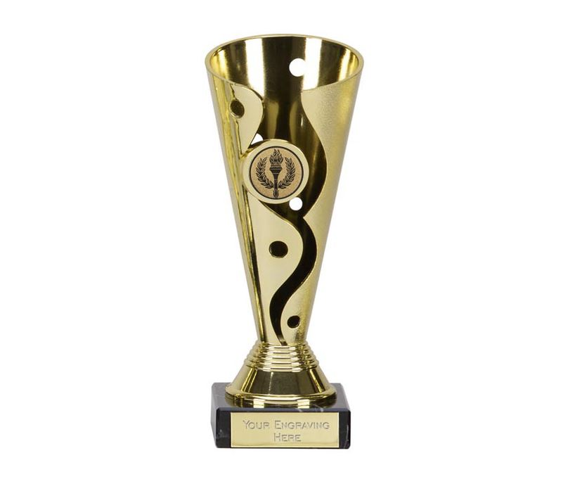 """Gold Plastic Carnival Cup Trophy on Marble Base 17cm (6.75"""")"""