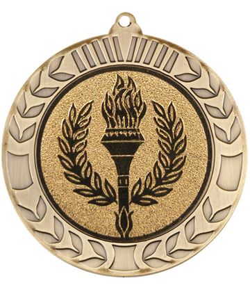 "Antique Gold Wreath Medal 70mm (2.75"")"