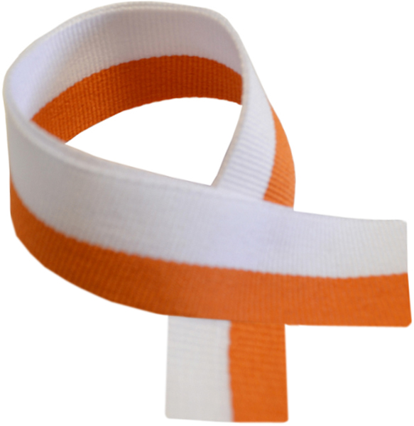 "Orange & White Medal Ribbon 76cm (30"")"