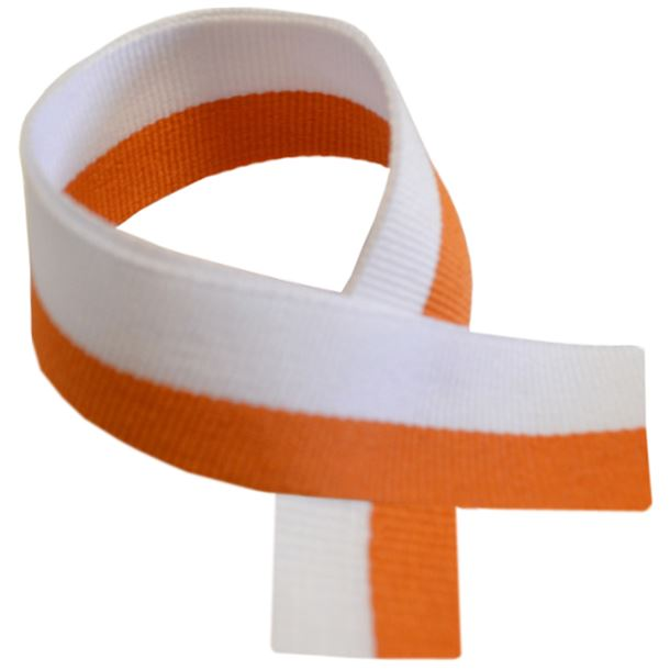 "Orange & White Medal Ribbon 80cm (32"")"