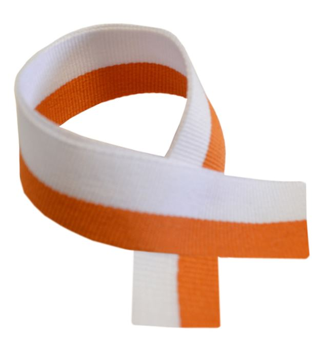 "Orange & White Medal Ribbon 80cm (32"")"