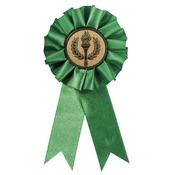 """Participant One Tier Green Rosette 12.5cm (5"""")"""
