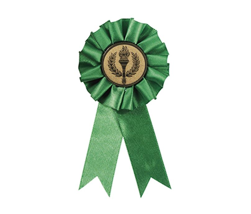 "Participant One Tier Green Rosette 12.5cm (5"")"