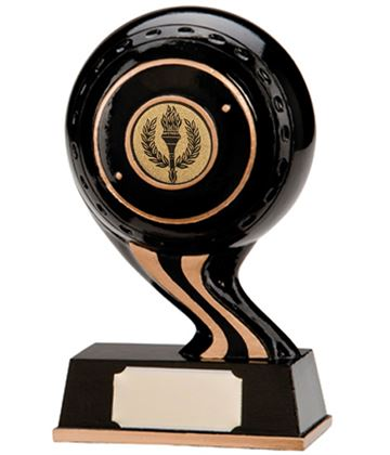 "Black & Gold Resin Strike Lawn Bowls Trophy 14.5cm (5.75"")"