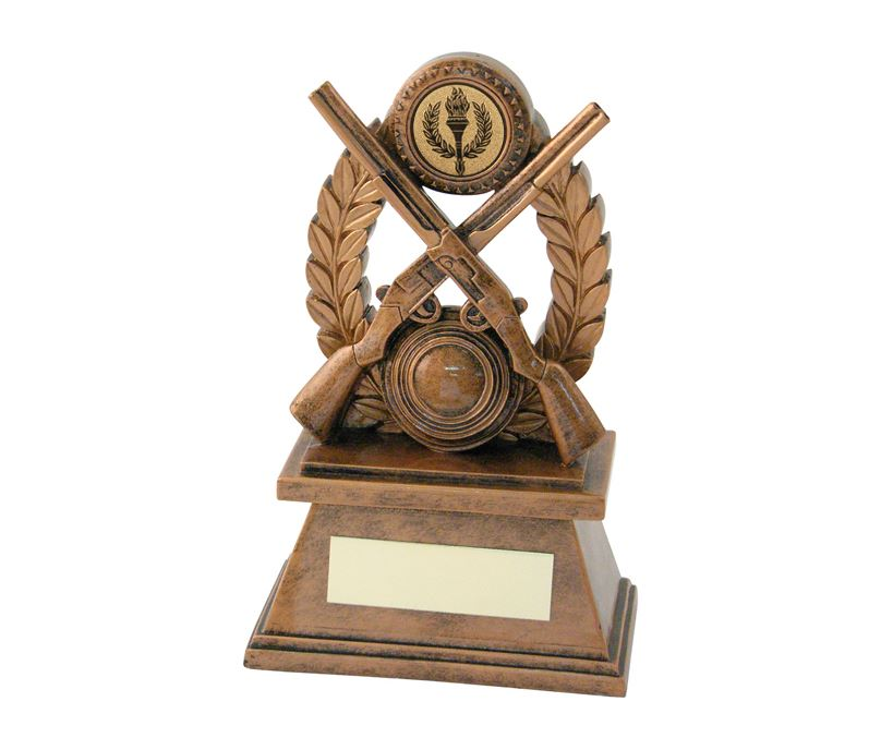 Antique Gold Resin Clay Pigeon Shooting Trophy 18cm (7