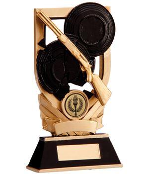 "Black & Gold Clay Pigeon Plaque Trophy 15cm (6"")"