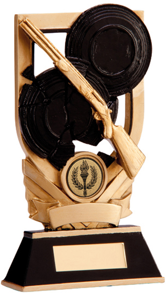 "Black & Gold Clay Pigeon Plaque Trophy 15cm (6"")"