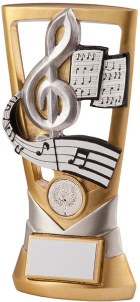 "Gold & Silver Velocity Music Plaque Trophy 21cm (8.25"")"