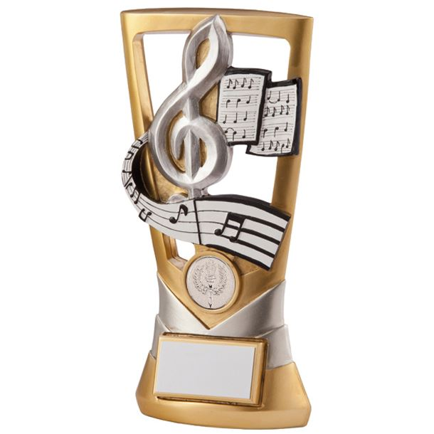 "Gold & Silver Velocity Music Plaque Trophy 14cm (5.5"")"