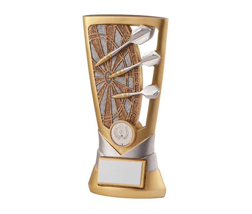 "Gold & Silver Resin Velocity Darts Trophy 14cm (5.5"")"