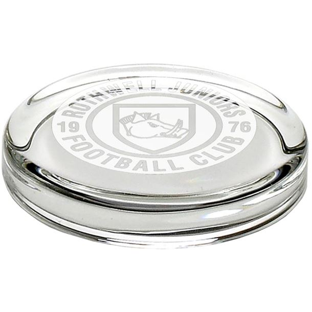 """Clear Round Glass Paperweight 9.5cm (3.75"""")"""