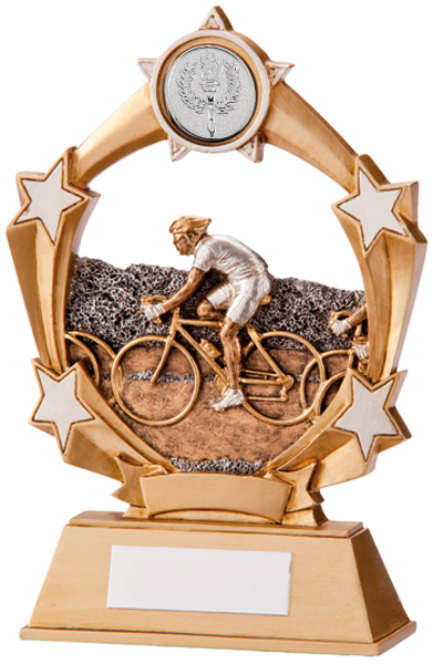 """Gold & Silver Resin Starblast Cycling Plaque Trophy 12.5cm (5"""")"""