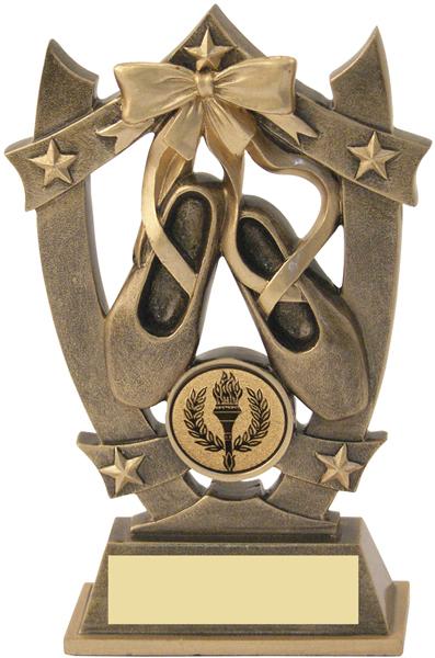 """Antique Gold Resin Ballet 5-Star Trophy 16cm (6.25"""")"""