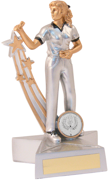 "Silver Female Darts Star Action Figure Trophy 21.5cm (8.5"")"