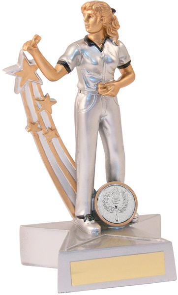 "Silver Female Darts Star Action Figure Trophy 21.5cm (8.5"")"