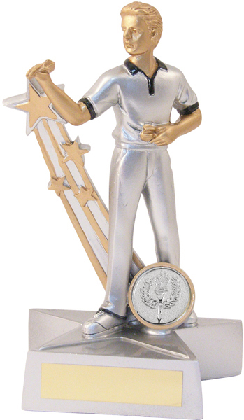 "Silver Male Darts Star Action Figure Trophy 21.5cm (8.5"")"