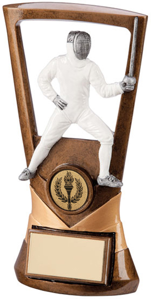 "Gold Resin Velocity Fencing Plaque Trophy 18.5cm (7.25"")"