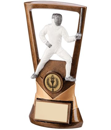 "Gold Resin Velocity Fencing Plaque Trophy 18.5cm (7.25"")"