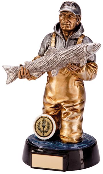 "Gold & Silver Resin Endurance Fisherman Figure Trophy 20.5cm (8"")"