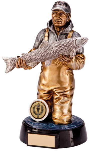 "Gold & Silver Resin Endurance Fisherman Figure Trophy 20.5cm (8"")"