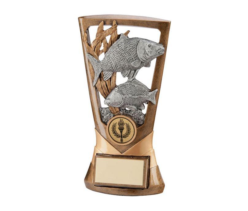 "Gold & Silver Resin Velocity Carp Trophy 18cm (7"")"