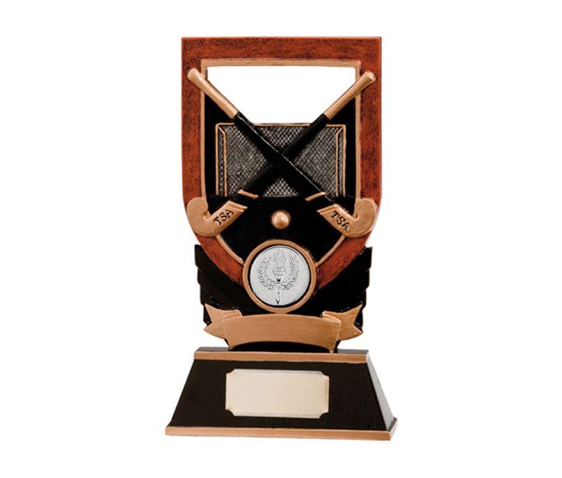 "Gold & Black Crossed Hockey Sticks Plaque Trophy 14cm (5.5"")"