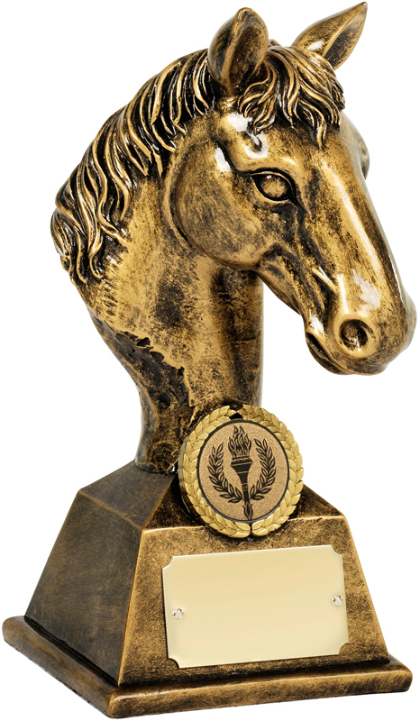 "Antique Gold Resin Horses Head Figure Trophy 19cm (7.5"")"